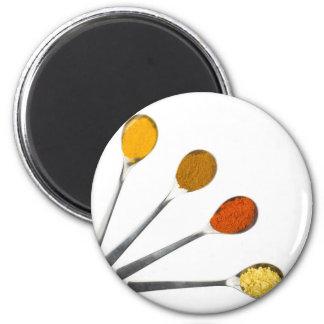 Fünf würzengewürze auf Metalllöffeln Runder Magnet 5,7 Cm