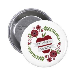Fünfter Grad-Lehrer-BlumenKranz-Rot Apple Buttons