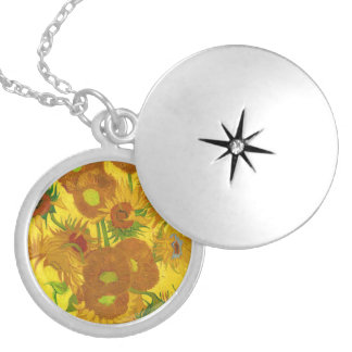 Fünfzehn Sonnenblumen in einem Vase Medaillon