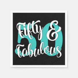 Fünfzig u. fabelhafte Weiß-und Aqua-Typografie Servietten