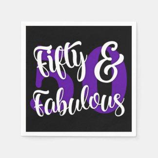 Fünfzig u. fabelhafte weiße und lila Typografie Servietten