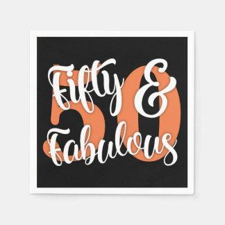 Fünfzig u. fabelhafte weiße und orange Typografie Papierservietten