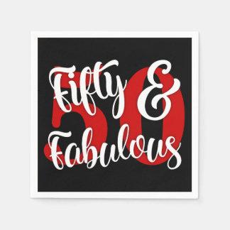 Fünfzig u. fabelhafte weiße und rote Typografie Papierservietten