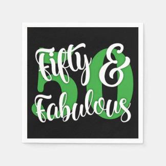 Fünfzig u. fabelhaftes Weiß und grüne Typografie Papierservietten