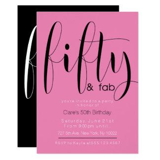 Fünfzig u. tolle, 50. Geburtstags-Einladungen 12,7 X 17,8 Cm Einladungskarte