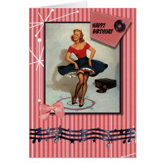 Fünfzigerjahre, die Button herauf Mädchen jiving Grußkarte