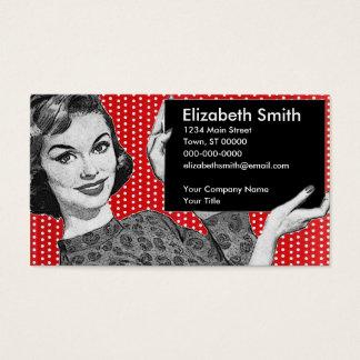 Fünfzigerjahre Frau mit einem Zeichen Visitenkarte