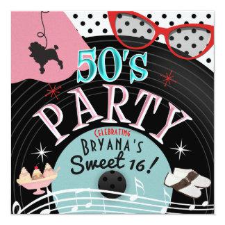 Fünfzigerjahre Fünfzigerjahre Rekordthema-Party Karte
