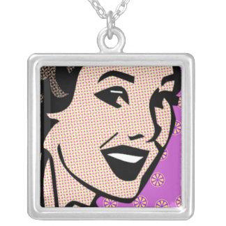Fünfzigerjahre Kitschy Retro Halskette Mit Quadratischem Anhänger