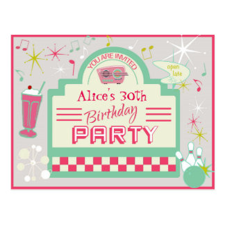 Fünfzigerjahre Party Einladungs-Postkarte