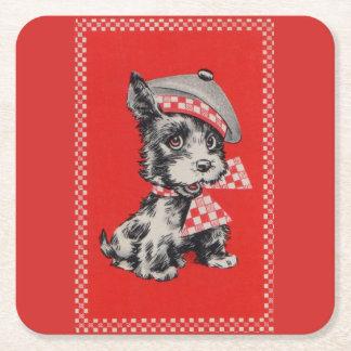 Fünfzigerjahre Scottiehund im Rot Rechteckiger Pappuntersetzer