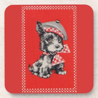Fünfzigerjahre Scottiehund im Rot Untersetzer