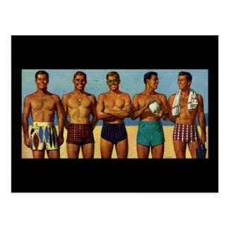 Fünfzigerjahre Strand-Typen Postkarte