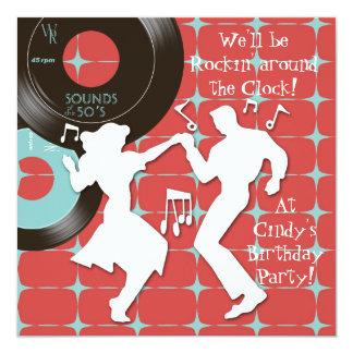 Fünfzigerjahre Thema-Geburtstags-Party Ankündigungskarten