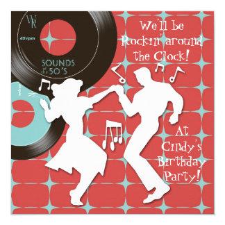 Fünfzigerjahre Thema-Geburtstags-Party Einladungen