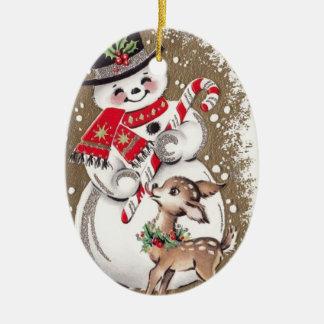Fünfzigerjahre Vintager Snowman mit Baby-Rotwild Keramik Ornament