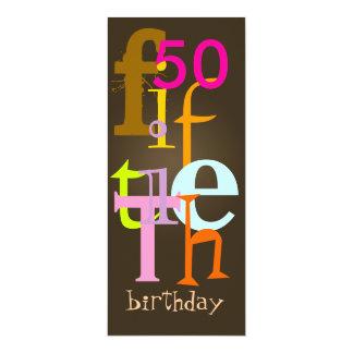 Fünfzigste Geburtstags-Party Einladungen 10,2 X 23,5 Cm Einladungskarte