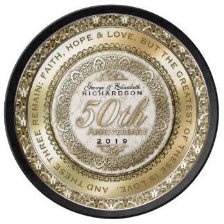 Fünfzigster Hochzeitstag-Goldzitat-Marmor Teller
