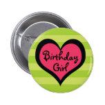 Funk-rosa Herz-Geburtstags-Mädchen-Knopf Runder Button 5,1 Cm