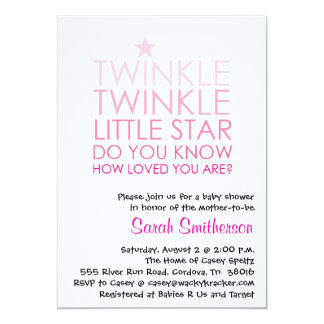 Funkeln-Mädchen-Babyparty-Einladung 12,7 X 17,8 Cm Einladungskarte