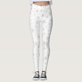 Funkeln-Schneeflocke - silbernes Grau u. Weiß Leggings