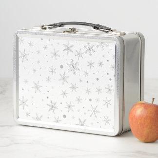 Funkeln-Schneeflocke - silbernes Grau u. Weiß Metall Brotdose