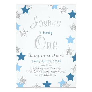 Funkeln-Stern-Jungengeburtstags-Einladung Blau 12,7 X 17,8 Cm Einladungskarte