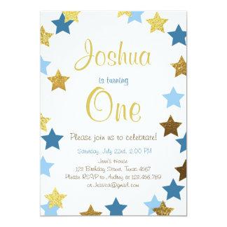 Funkeln-Stern-Jungengeburtstags-Einladung Blau Karte