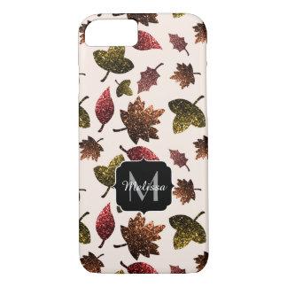 Funkelnd Blätterfallherbst-Muster Monogramm iPhone 8/7 Hülle