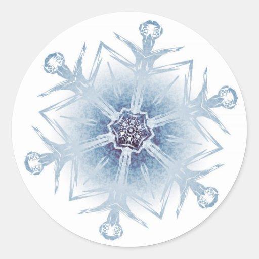 Funkelnd blaue Schneeflocken Aufkleber
