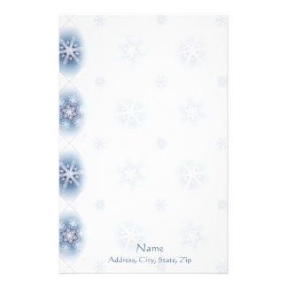 Funkelnd blaue Schneeflocken Personalisierte Büropapiere