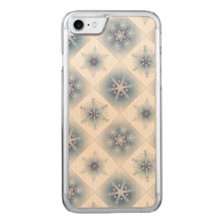 Funkelnd blaue Schneeflocken Carved iPhone 8/7 Hülle