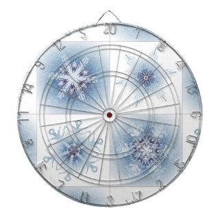 Funkelnd blaue Schneeflocken Dartscheibe