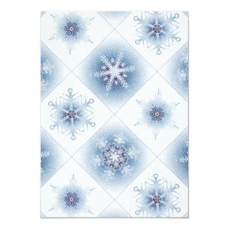 Funkelnd blaue Schneeflocken 12,7 X 17,8 Cm Einladungskarte