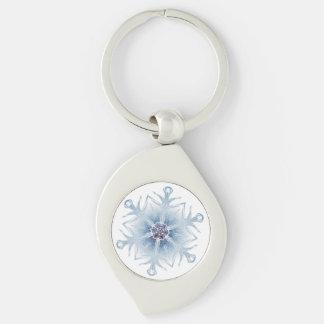 Funkelnd blaue Schneeflocken Schlüsselanhänger