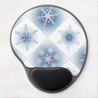 Funkelnd blaue Schneeflocken Gel Mouse Matte