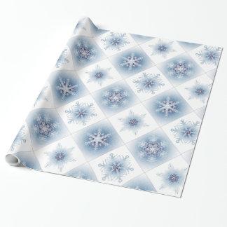 Funkelnd blaue Schneeflocken Geschenkpapier
