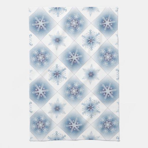 Funkelnd blaue Schneeflocken Handtücher