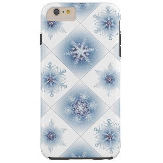 Funkelnd blaue Schneeflocken Tough iPhone 6 Plus Hülle