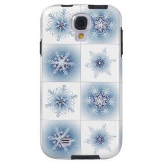 Funkelnd blaue Schneeflocken Galaxy S4 Hülle