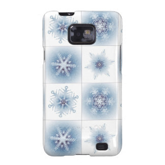 Funkelnd blaue Schneeflocken Galaxy SII Cover