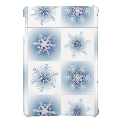 Funkelnd blaue Schneeflocken iPad Mini Cover