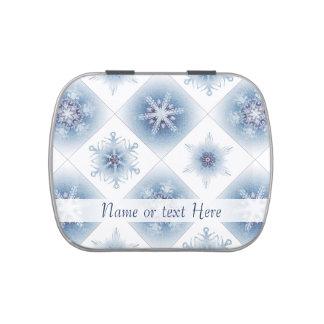 Funkelnd blaue Schneeflocken Vorratsdose