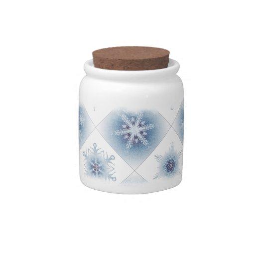 Funkelnd blaue Schneeflocken Plätzchendosen