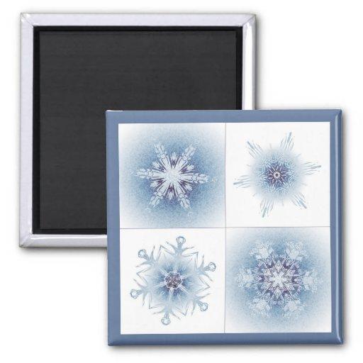 Funkelnd blaue Schneeflocken Magnets
