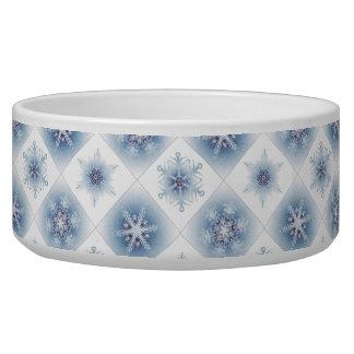 Funkelnd blaue Schneeflocken Hundefutter-Näpfe