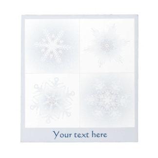 Funkelnd blaue Schneeflocken Notizblöcke