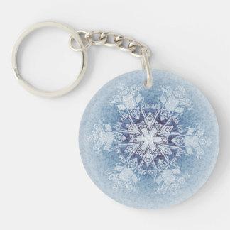 Funkelnd blaue Schneeflocken Schlüsselanhängern