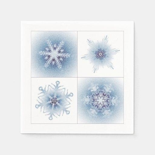 Funkelnd blaue Schneeflocken Serviette