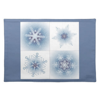 Funkelnd blaue Schneeflocken Tisch Sets